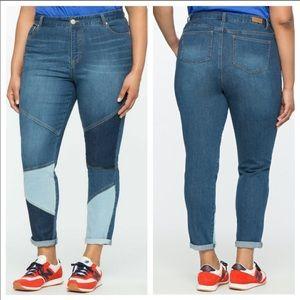Eloquii 18 petite color patchy Boho jeans
